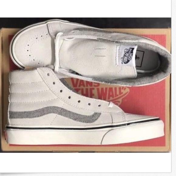 3fa0a317764b07 Vans Sk8 Hi Slim Vintage Suede True White Shoes